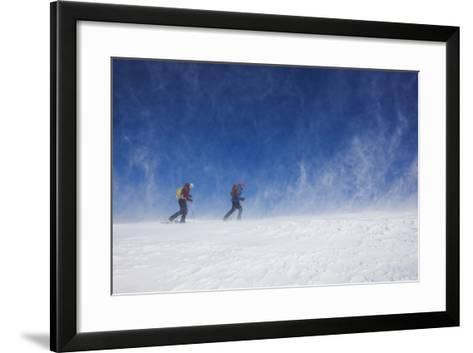 Male and Female Hiking with Snowshoes on Humphreys Peak in Flagstaff, Arizona-John Burcham-Framed Art Print