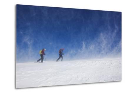 Male and Female Hiking with Snowshoes on Humphreys Peak in Flagstaff, Arizona-John Burcham-Metal Print