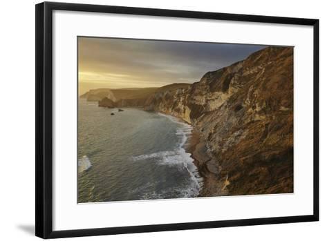 The Beach and Chalk Cliffs around Durdle Door, in the Jurassic Coast World Heritage Site-Nigel Hicks-Framed Art Print