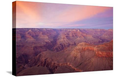 Sunset at Mather Point in Grand Canyon National Park, Arizona-John Burcham-Stretched Canvas Print