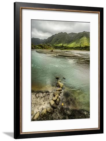 Fresh Water from Halawa Valley Empties into the Pacific Ocean at This Point on Molokai-Jonathan Kingston-Framed Art Print