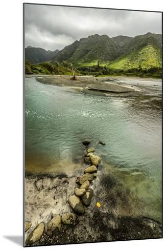 Fresh Water from Halawa Valley Empties into the Pacific Ocean at This Point on Molokai-Jonathan Kingston-Mounted Photographic Print