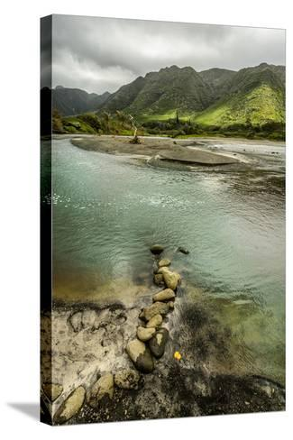 Fresh Water from Halawa Valley Empties into the Pacific Ocean at This Point on Molokai-Jonathan Kingston-Stretched Canvas Print