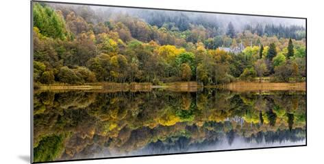 Tigh Mor Castle Peaks Out from Autumn Colors Reflected in Loch Achray Trossachs, Scotland-Jonathan Irish-Mounted Photographic Print