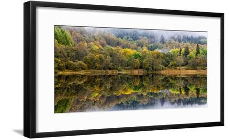 Tigh Mor Castle Peaks Out from Autumn Colors Reflected in Loch Achray Trossachs, Scotland-Jonathan Irish-Framed Art Print
