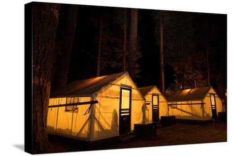 Tent Cabins Glow at Curry Village in Yosemite National Park-Dmitri Alexander-Stretched Canvas Print