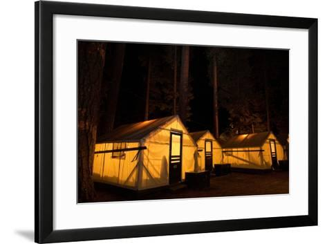 Tent Cabins Glow at Curry Village in Yosemite National Park-Dmitri Alexander-Framed Art Print
