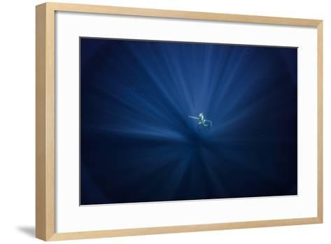 A Free Diver Spearfishes Off the Coast of Cat Island in the Bahamas-Andy Mann-Framed Art Print