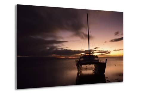 Pink Sunset over the Pacific Ocean with an Anchored Catamaran on Molokai, Hawaii-Jonathan Kingston-Metal Print