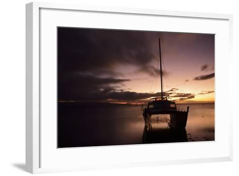 Pink Sunset over the Pacific Ocean with an Anchored Catamaran on Molokai, Hawaii-Jonathan Kingston-Framed Art Print