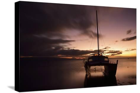 Pink Sunset over the Pacific Ocean with an Anchored Catamaran on Molokai, Hawaii-Jonathan Kingston-Stretched Canvas Print