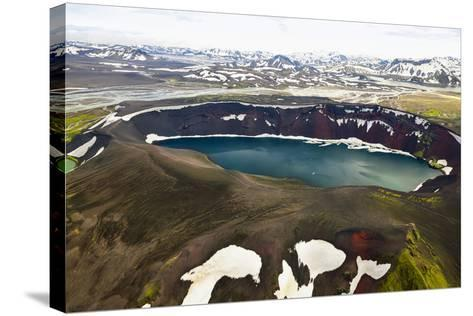 An Aerial View of a Deep Blue Crater Lake in the Interior of Southern Iceland-Keith Ladzinski-Stretched Canvas Print