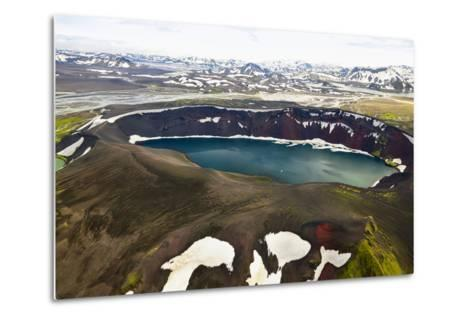 An Aerial View of a Deep Blue Crater Lake in the Interior of Southern Iceland-Keith Ladzinski-Metal Print