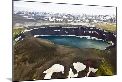An Aerial View of a Deep Blue Crater Lake in the Interior of Southern Iceland-Keith Ladzinski-Mounted Photographic Print