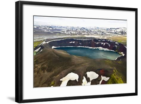An Aerial View of a Deep Blue Crater Lake in the Interior of Southern Iceland-Keith Ladzinski-Framed Art Print