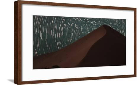 Star Trails Streak across the Sky Behind a Towering Sand Dune in the Namib Desert-Matthew Hood-Framed Art Print