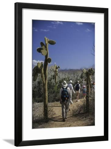 A Group of Tourists Hiking Along the Trail, Looking for Land Iguanas-Jad Davenport-Framed Art Print