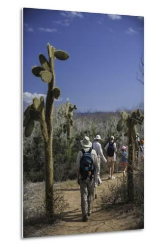 A Group of Tourists Hiking Along the Trail, Looking for Land Iguanas-Jad Davenport-Metal Print
