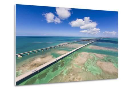 Aerial View of the Seven Mile Bridge Near Marathon Island in the Florida Keys-Mike Theiss-Metal Print