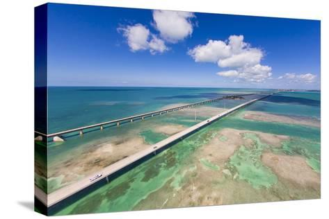 Aerial View of the Seven Mile Bridge Near Marathon Island in the Florida Keys-Mike Theiss-Stretched Canvas Print