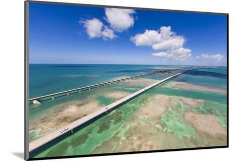 Aerial View of the Seven Mile Bridge Near Marathon Island in the Florida Keys-Mike Theiss-Mounted Photographic Print