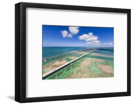 Aerial View of the Seven Mile Bridge Near Marathon Island in the Florida Keys-Mike Theiss-Framed Art Print