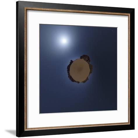 Projection of Moonlit Sahara Night with Sand Dunes and Giant Sandstone Cliffs-Babak Tafreshi-Framed Art Print