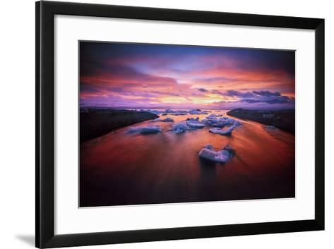 Sunset over Glacier Bay in Iceland-Keith Ladzinski-Framed Art Print