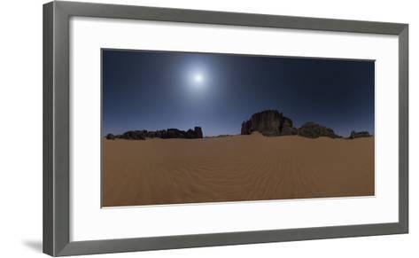 Panoramic of Moonlit Sahara Night with Sand Dunes and Giant Sandstone Cliffs-Babak Tafreshi-Framed Art Print