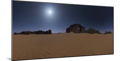 Panoramic of Moonlit Sahara Night with Sand Dunes and Giant Sandstone Cliffs-Babak Tafreshi-Mounted Photographic Print