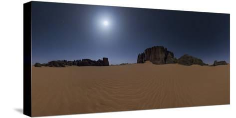 Panoramic of Moonlit Sahara Night with Sand Dunes and Giant Sandstone Cliffs-Babak Tafreshi-Stretched Canvas Print