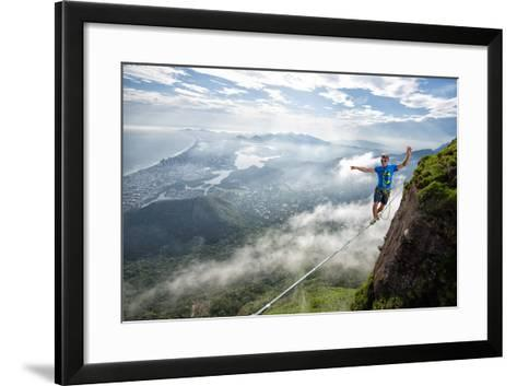 A Highliner Traverses Two Cliffs Above Rio De Janeiro-Keith Ladzinski-Framed Art Print