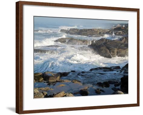 Waves Crashing on the Shoreline of Tillamook-Nicole Duplaix-Framed Art Print