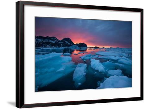 Breaking Ice at Sunrise-Andy Mann-Framed Art Print