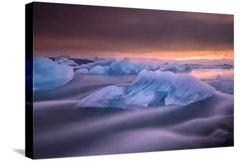 A Long Exposure of a Sunset over Glacier Bay in Iceland-Keith Ladzinski-Stretched Canvas Print