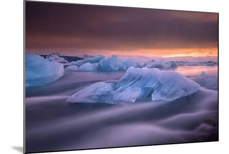 A Long Exposure of a Sunset over Glacier Bay in Iceland-Keith Ladzinski-Mounted Photographic Print