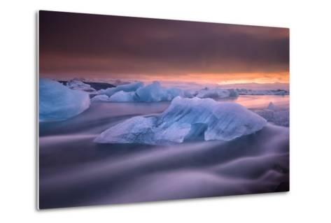 A Long Exposure of a Sunset over Glacier Bay in Iceland-Keith Ladzinski-Metal Print