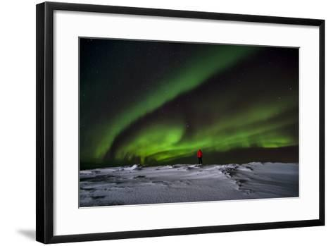 Person Watching Aurora Borealis on Iceland-Chad Copeland-Framed Art Print