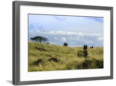 Couple Walking in a Grassy Field-Peter Mcbride-Framed Art Print