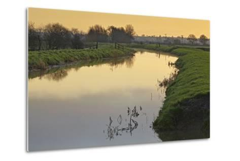 The River Brue Flowing Through Countryside on the Somerset Levels, Near Glastonbury-Nigel Hicks-Metal Print