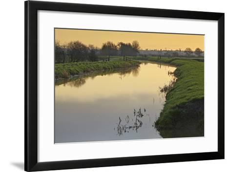 The River Brue Flowing Through Countryside on the Somerset Levels, Near Glastonbury-Nigel Hicks-Framed Art Print