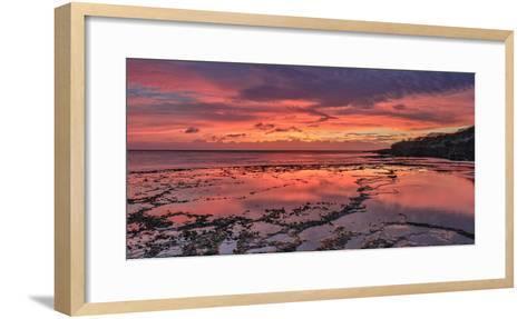 Sunset Above Low Tide Pools at Kawakiu Nui Beach on Molokai's West End-Richard A^ Cooke-Framed Art Print
