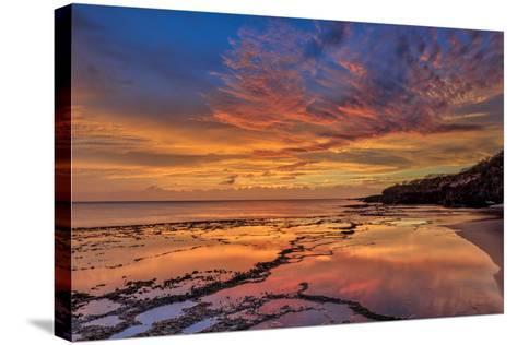 Sunset Above Low Tide Pools at Kawakiu Nui Beach on Molokai's West End-Richard A^ Cooke-Stretched Canvas Print