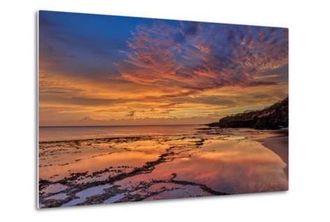 Sunset Above Low Tide Pools at Kawakiu Nui Beach on Molokai's West End-Richard A^ Cooke-Metal Print
