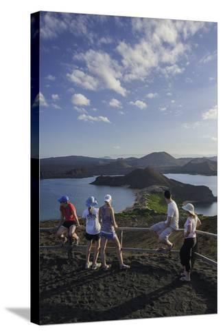 Tourists Viewing the Coast of Bartolome Island-Jad Davenport-Stretched Canvas Print