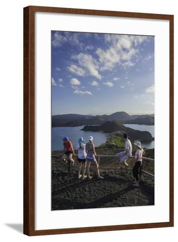 Tourists Viewing the Coast of Bartolome Island-Jad Davenport-Framed Art Print
