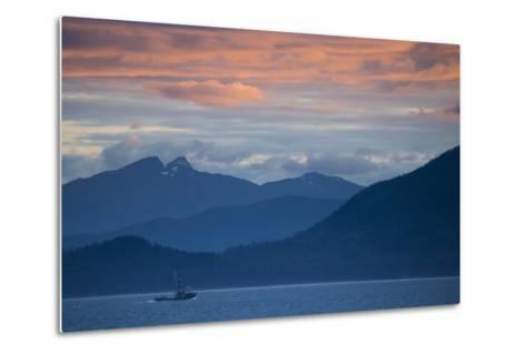 Fishing Boat at Sunset in Stephens Passage-Michael Melford-Metal Print