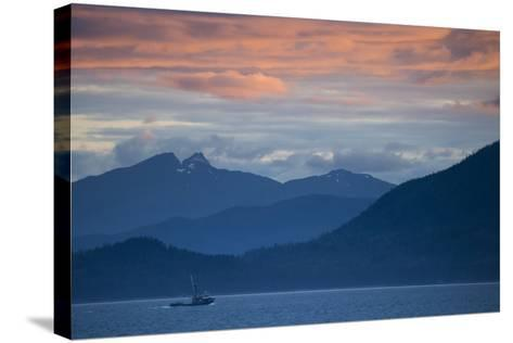 Fishing Boat at Sunset in Stephens Passage-Michael Melford-Stretched Canvas Print