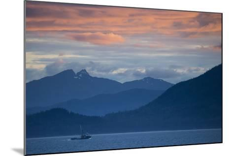 Fishing Boat at Sunset in Stephens Passage-Michael Melford-Mounted Photographic Print