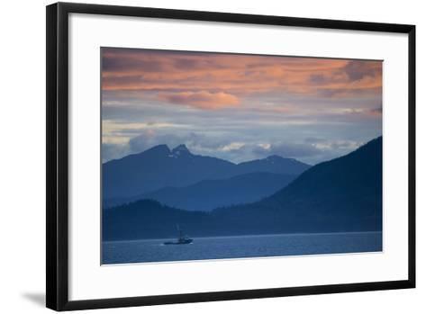 Fishing Boat at Sunset in Stephens Passage-Michael Melford-Framed Art Print